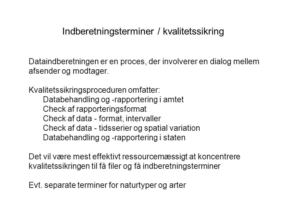 Indberetningsterminer / kvalitetssikring Dataindberetningen er en proces, der involverer en dialog mellem afsender og modtager.