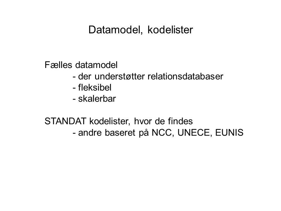 Datamodel, kodelister Fælles datamodel - der understøtter relationsdatabaser - fleksibel - skalerbar STANDAT kodelister, hvor de findes - andre baseret på NCC, UNECE, EUNIS