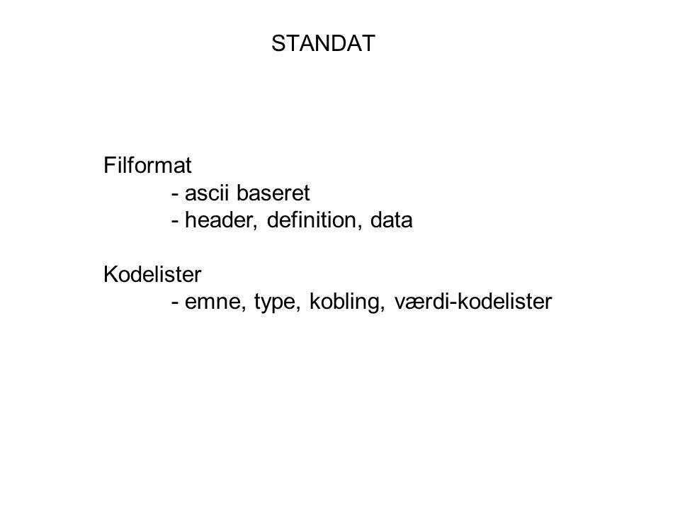 STANDAT Filformat - ascii baseret - header, definition, data Kodelister - emne, type, kobling, værdi-kodelister