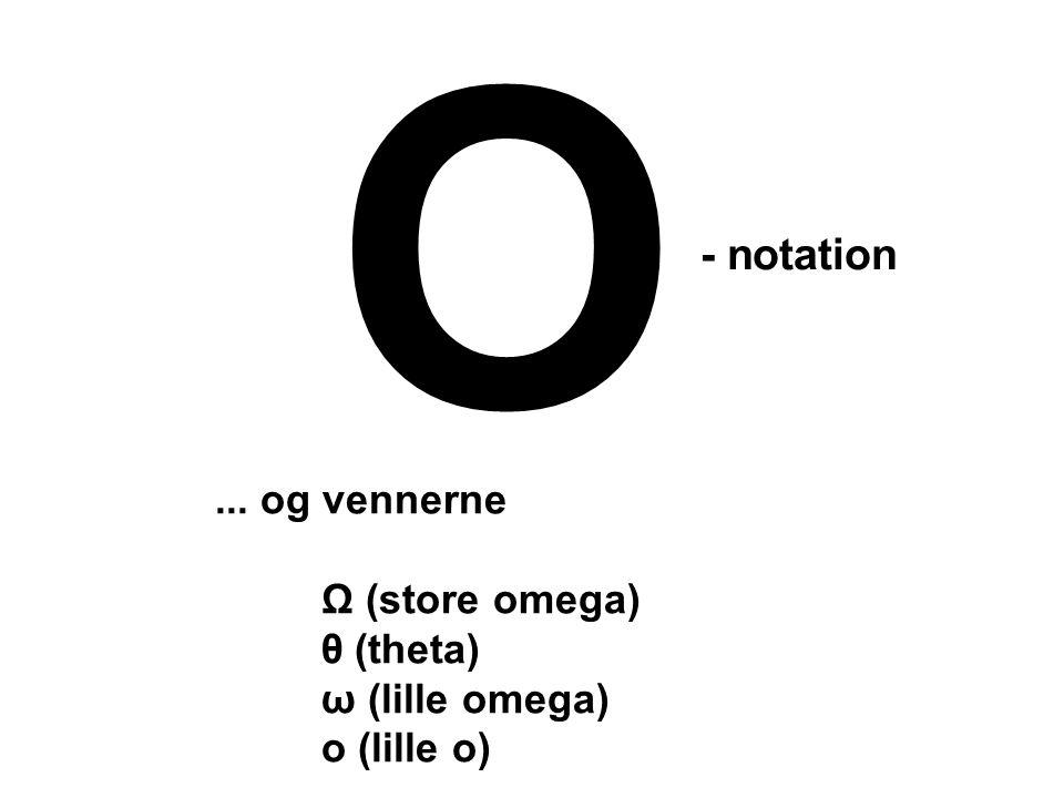 O... og vennerne Ω (store omega) θ (theta) ω (lille omega) o (lille o) - notation