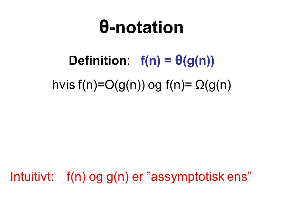 θ -notation Definition: f(n) = θ (g(n)) hvis f(n)=O(g(n)) og f(n)= Ω(g(n) Intuitivt: f(n) og g(n) er assymptotisk ens