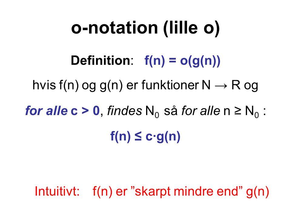 o-notation (lille o) Definition: f(n) = o(g(n)) hvis f(n) og g(n) er funktioner N → R og for alle c > 0, findes N 0 så for alle n ≥ N 0 : f(n) ≤ c·g(n) Intuitivt: f(n) er skarpt mindre end g(n)