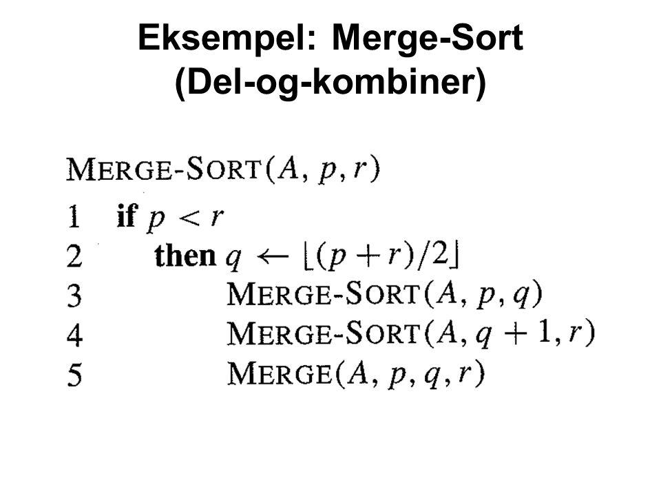 Eksempel: Merge-Sort (Del-og-kombiner)