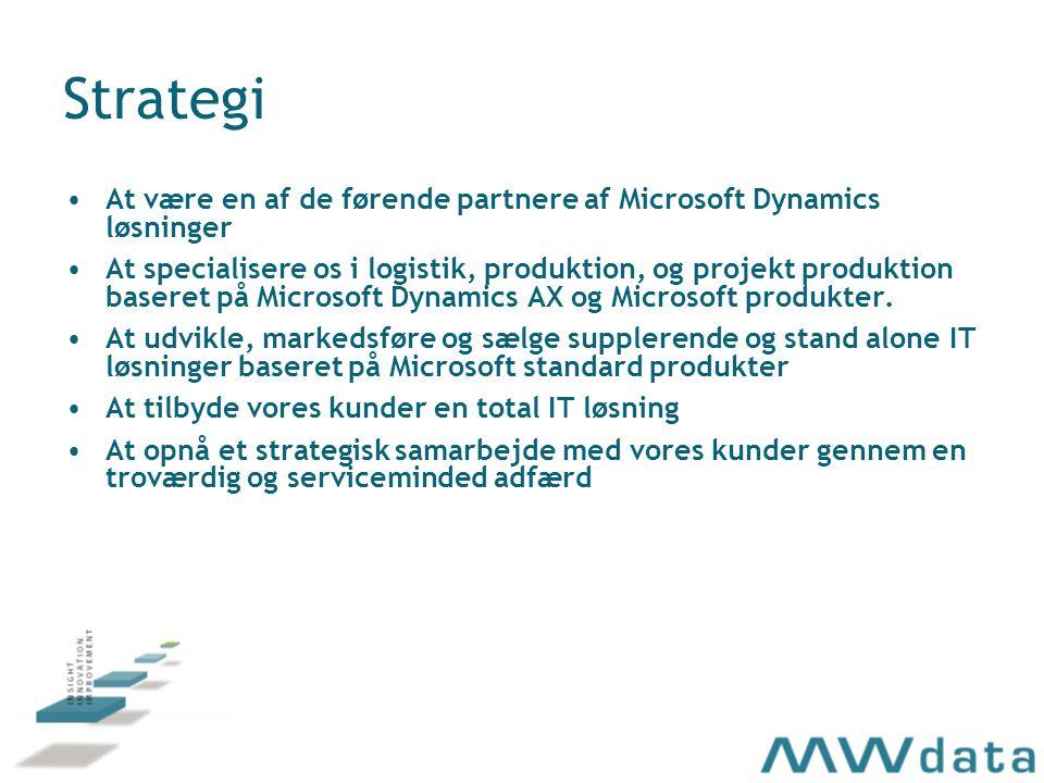 Strategi At være en af de førende partnere af Microsoft Dynamics løsninger At specialisere os i logistik, produktion, og projekt produktion baseret på Microsoft Dynamics AX og Microsoft produkter.