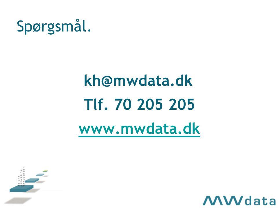 Spørgsmål. kh@mwdata.dk Tlf. 70 205 205 www.mwdata.dk