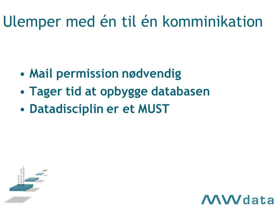 Ulemper med én til én komminikation Mail permission nødvendig Tager tid at opbygge databasen Datadisciplin er et MUST