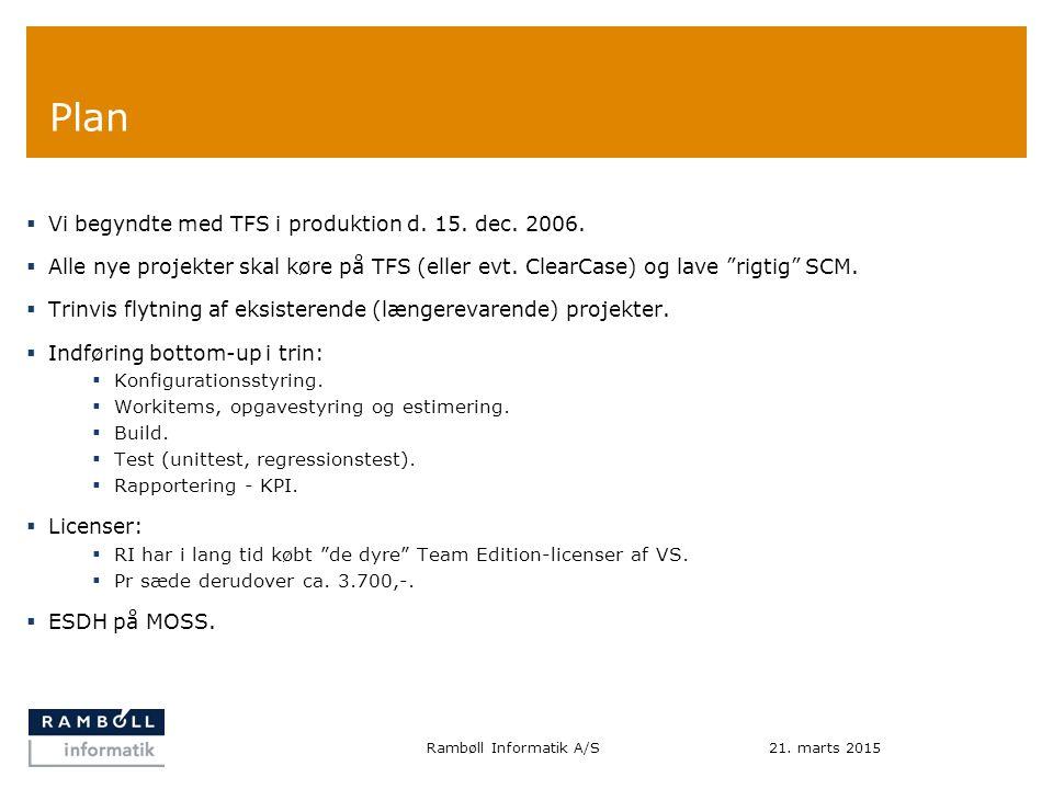 Plan  Vi begyndte med TFS i produktion d. 15. dec.