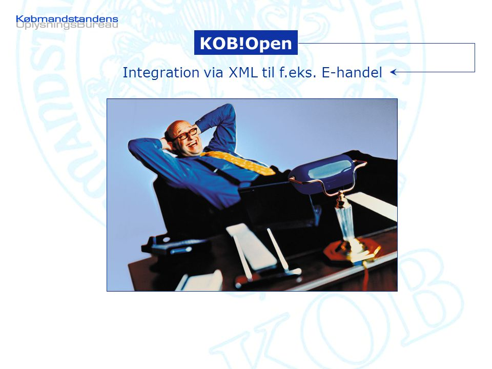 KOB Database KOB!Open Integration via XML til f.eks. E-handel