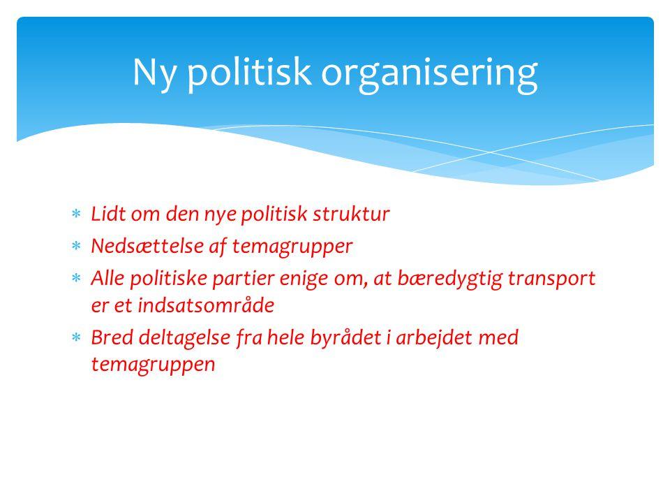  Lidt om den nye politisk struktur  Nedsættelse af temagrupper  Alle politiske partier enige om, at bæredygtig transport er et indsatsområde  Bred deltagelse fra hele byrådet i arbejdet med temagruppen Ny politisk organisering