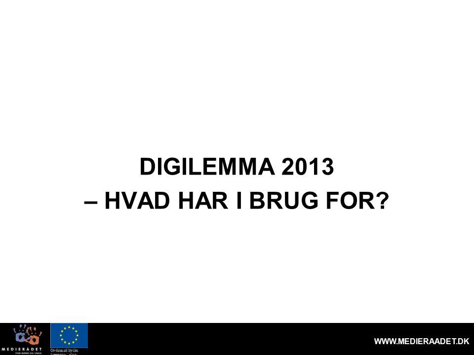 DIGILEMMA 2013 – HVAD HAR I BRUG FOR WWW.MEDIERAADET.DK