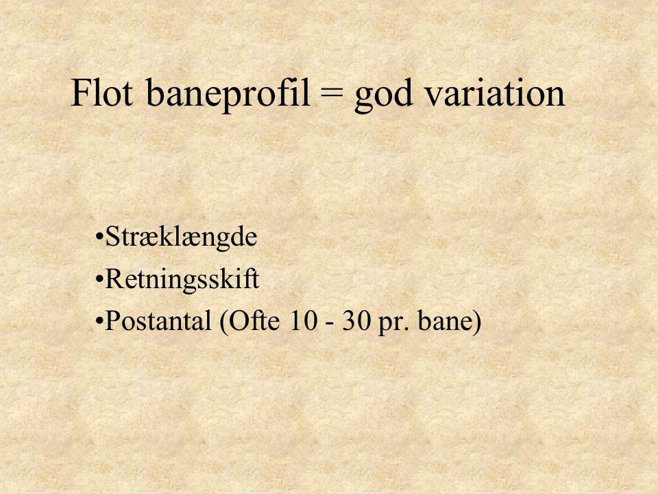 Flot baneprofil = god variation Stræklængde Retningsskift Postantal (Ofte 10 - 30 pr. bane)