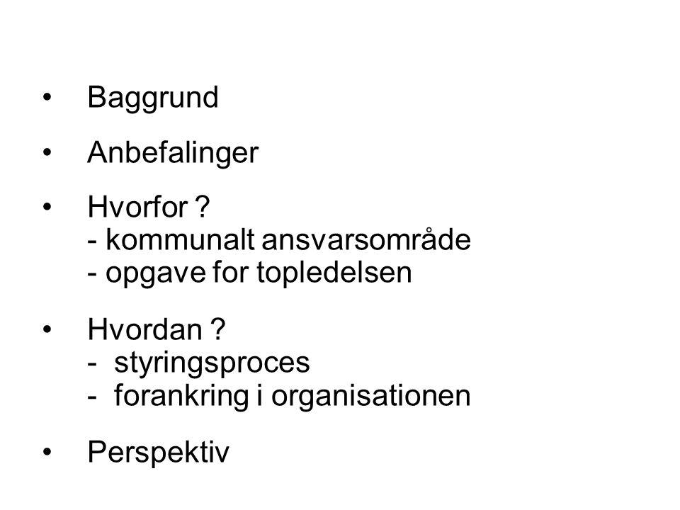 Baggrund Anbefalinger Hvorfor . - kommunalt ansvarsområde - opgave for topledelsen Hvordan .