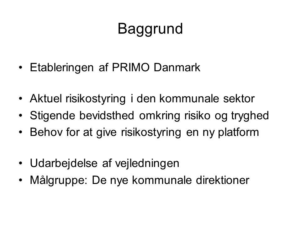 Baggrund Etableringen af PRIMO Danmark Aktuel risikostyring i den kommunale sektor Stigende bevidsthed omkring risiko og tryghed Behov for at give risikostyring en ny platform Udarbejdelse af vejledningen Målgruppe: De nye kommunale direktioner