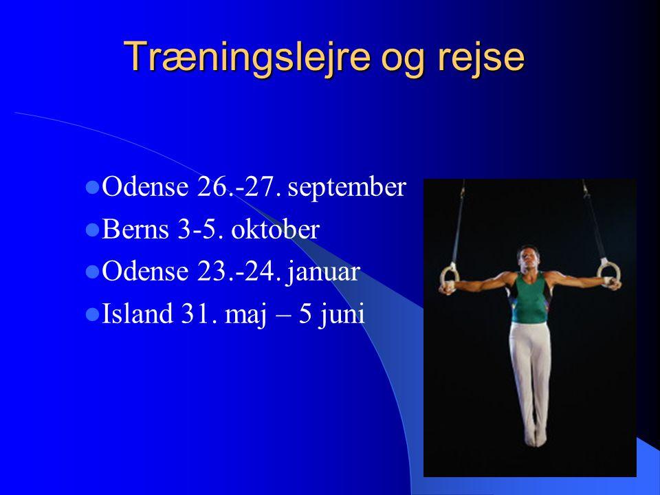 Træningslejre og rejse Odense 26.-27. september Berns 3-5.