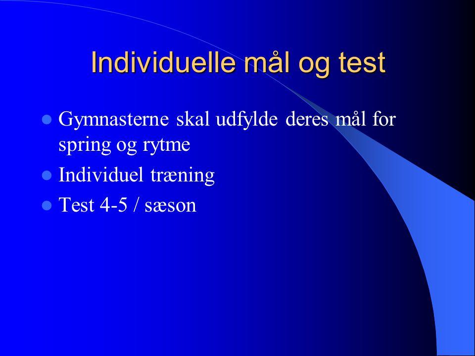 Individuelle mål og test Gymnasterne skal udfylde deres mål for spring og rytme Individuel træning Test 4-5 / sæson