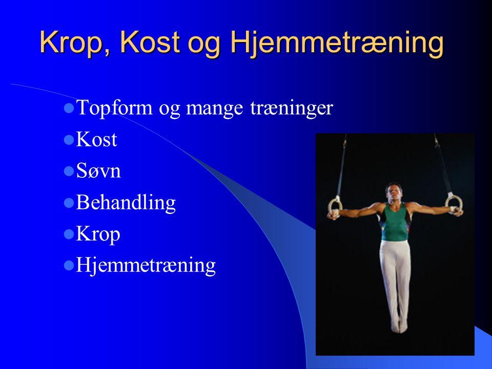 Krop, Kost og Hjemmetræning Topform og mange træninger Kost Søvn Behandling Krop Hjemmetræning