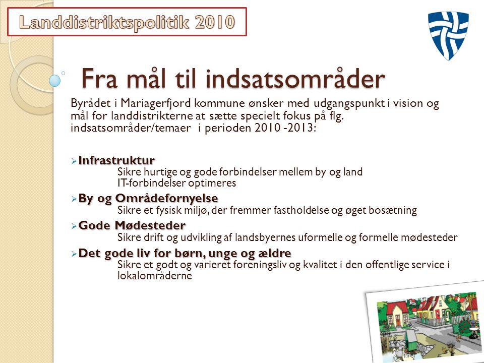 Fra mål til indsatsområder Byrådet i Mariagerfjord kommune ønsker med udgangspunkt i vision og mål for landdistrikterne at sætte specielt fokus på flg.