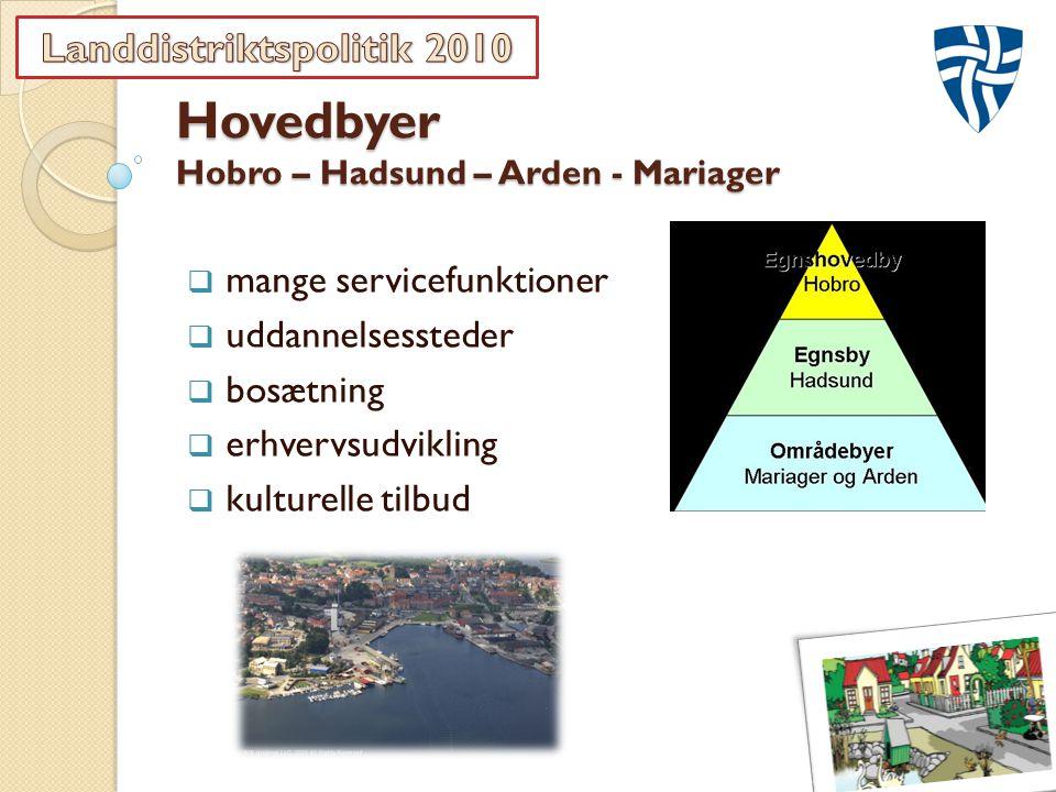 Hovedbyer Hobro – Hadsund – Arden - Mariager  mange servicefunktioner  uddannelsessteder  bosætning  erhvervsudvikling  kulturelle tilbud
