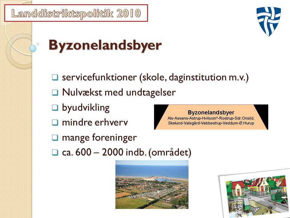 Byzonelandsbyer  servicefunktioner (skole, daginstitution m.v.)  Nulvækst med undtagelser  byudvikling  mindre erhverv  mange foreninger  ca.