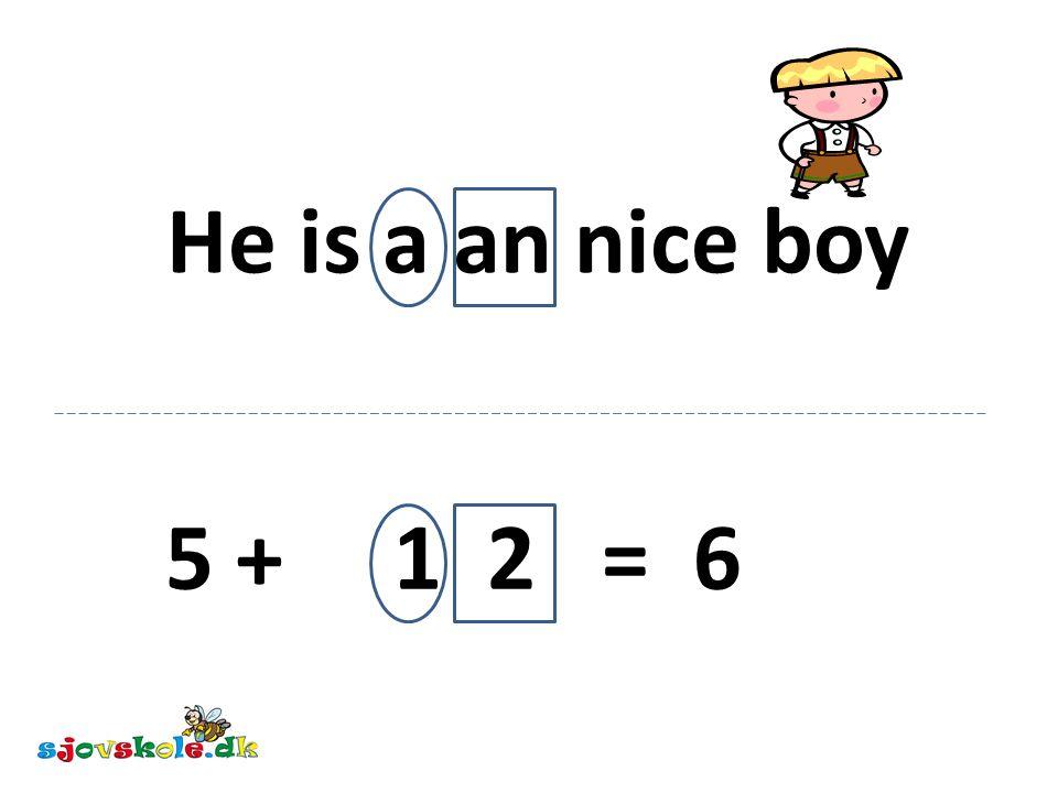 He is a an nice boy 5 + 1 2 = 6