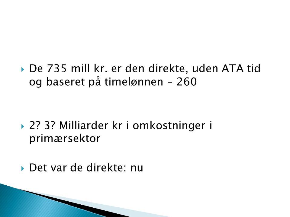  De 735 mill kr. er den direkte, uden ATA tid og baseret på timelønnen – 260  2.