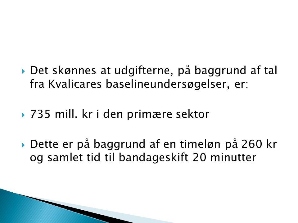  Det skønnes at udgifterne, på baggrund af tal fra Kvalicares baselineundersøgelser, er:  735 mill.
