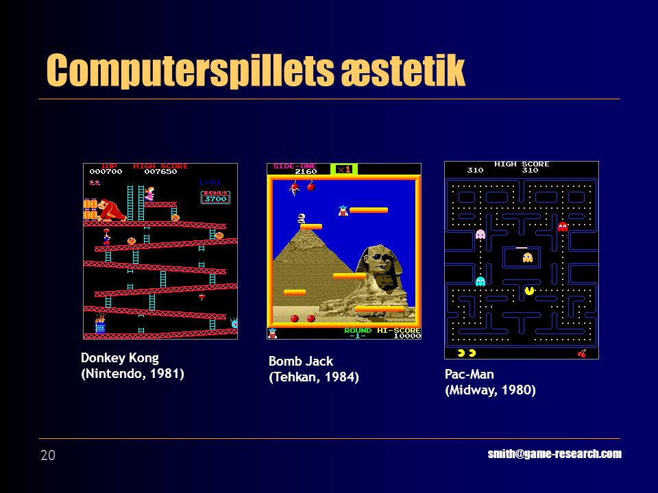 20 Computerspillets æstetik smith@game-research.com Donkey Kong (Nintendo, 1981) Bomb Jack (Tehkan, 1984) Pac-Man (Midway, 1980)