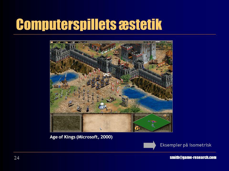24 Computerspillets æstetik smith@game-research.com Eksempler på isometrisk Age of Kings (Microsoft, 2000)