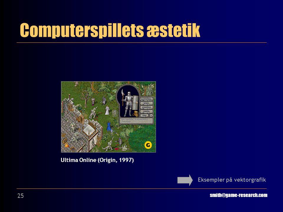 25 Computerspillets æstetik smith@game-research.com Eksempler på vektorgrafik Ultima Online (Origin, 1997)
