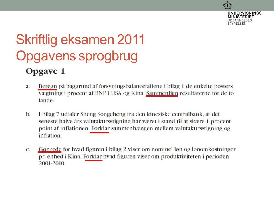 Skriftlig eksamen 2011 Opgavens sprogbrug 21-03-2015 Dorthe Wangs