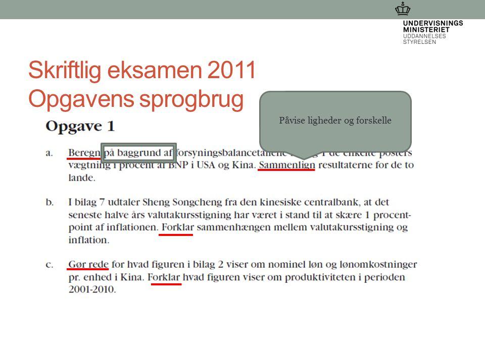 Skriftlig eksamen 2011 Opgavens sprogbrug 21-03-2015 Dorthe Wangs Påvise ligheder og forskelle