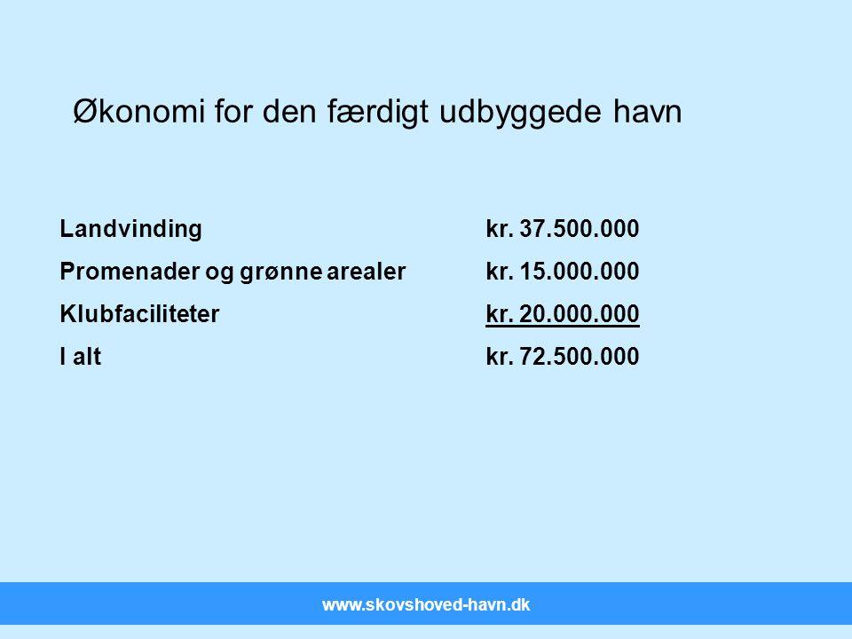 www.skovshoved-havn.dk Økonomi for den færdigt udbyggede havn Landvindingkr.