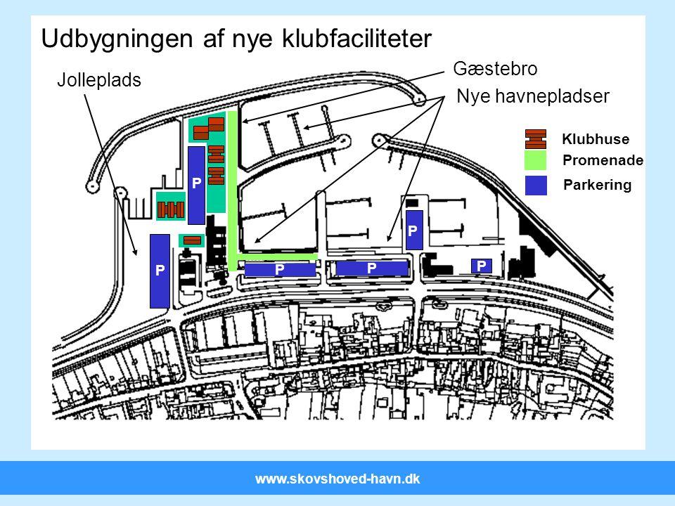 www.skovshoved-havn.dk P P Udbygningen af nye klubfaciliteter Parkering Promenade Klubhuse P P P P Gæstebro Nye havnepladser Jolleplads