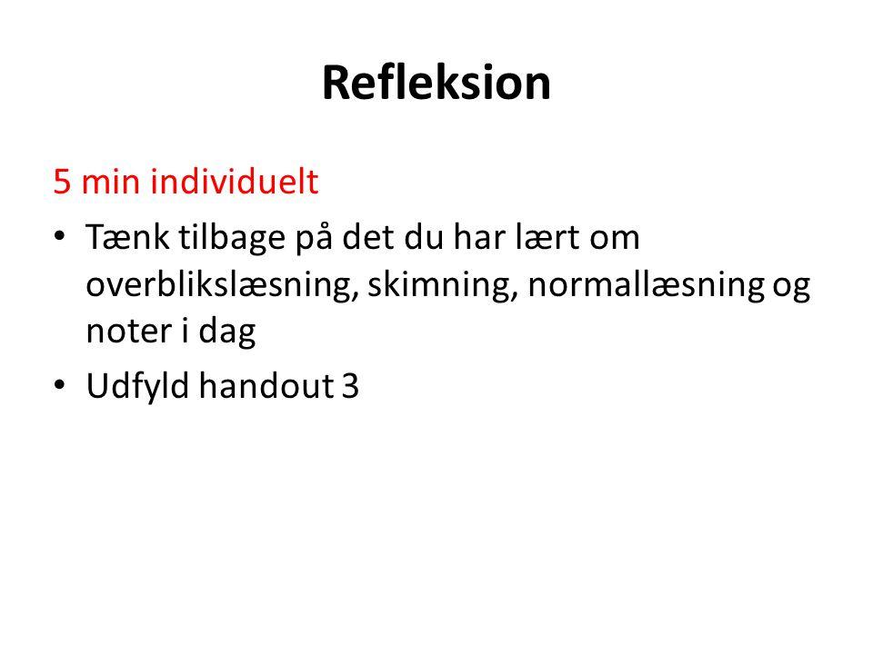 Refleksion 5 min individuelt Tænk tilbage på det du har lært om overblikslæsning, skimning, normallæsning og noter i dag Udfyld handout 3