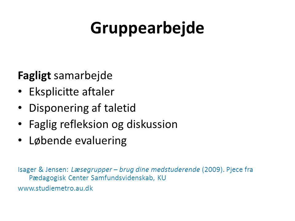 Gruppearbejde Fagligt samarbejde Eksplicitte aftaler Disponering af taletid Faglig refleksion og diskussion Løbende evaluering Isager & Jensen: Læsegrupper – brug dine medstuderende (2009).