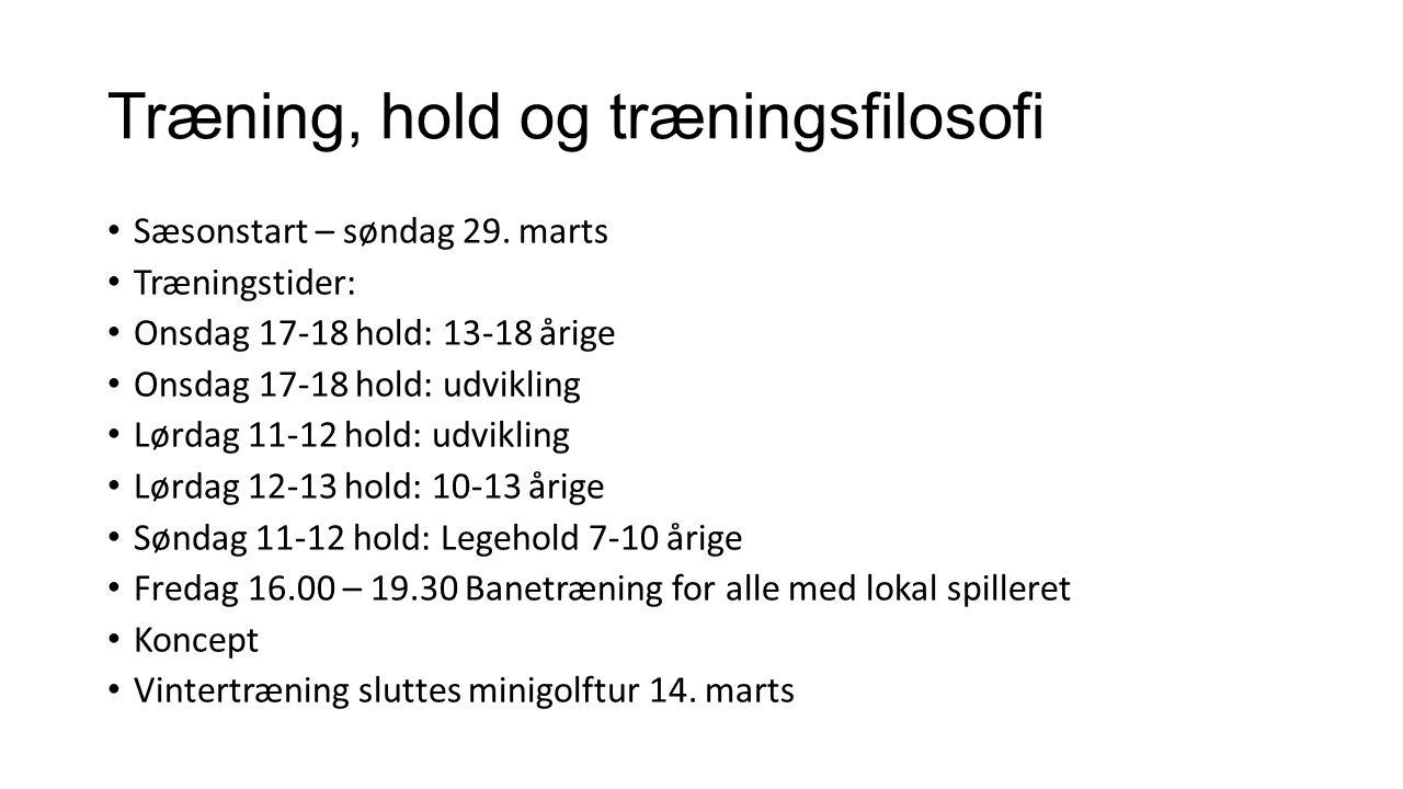 Træning, hold og træningsfilosofi Sæsonstart – søndag 29.