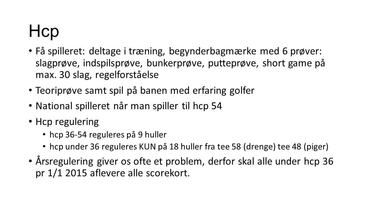 Hcp Få spilleret: deltage i træning, begynderbagmærke med 6 prøver: slagprøve, indspilsprøve, bunkerprøve, putteprøve, short game på max.