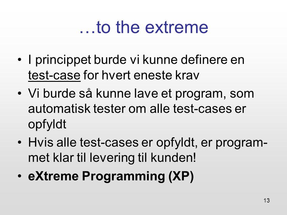 13 …to the extreme I princippet burde vi kunne definere en test-case for hvert eneste krav Vi burde så kunne lave et program, som automatisk tester om alle test-cases er opfyldt Hvis alle test-cases er opfyldt, er program- met klar til levering til kunden.