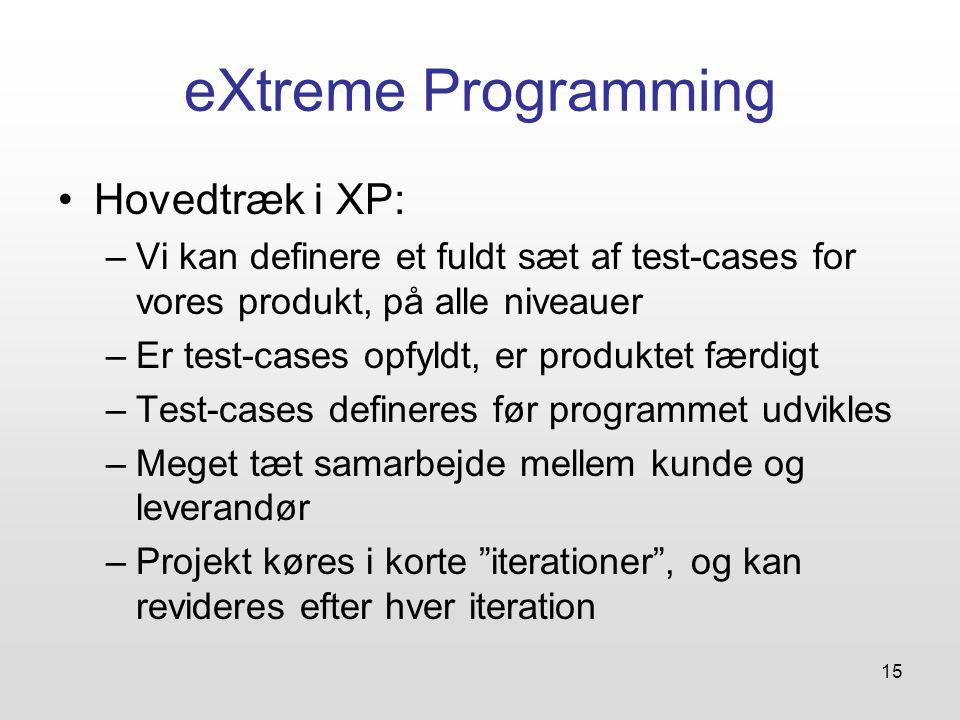 15 eXtreme Programming Hovedtræk i XP: –Vi kan definere et fuldt sæt af test-cases for vores produkt, på alle niveauer –Er test-cases opfyldt, er produktet færdigt –Test-cases defineres før programmet udvikles –Meget tæt samarbejde mellem kunde og leverandør –Projekt køres i korte iterationer , og kan revideres efter hver iteration
