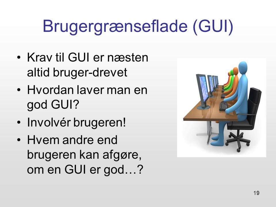 19 Brugergrænseflade (GUI) Krav til GUI er næsten altid bruger-drevet Hvordan laver man en god GUI.