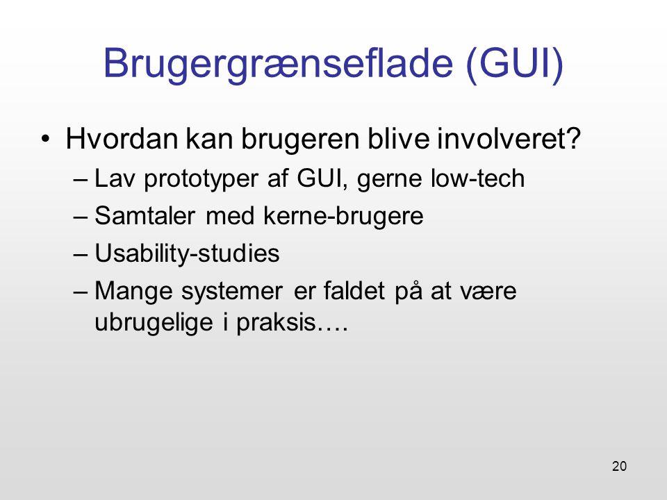20 Brugergrænseflade (GUI) Hvordan kan brugeren blive involveret.