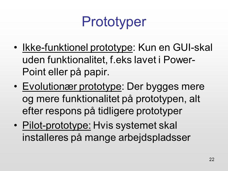 22 Prototyper Ikke-funktionel prototype: Kun en GUI-skal uden funktionalitet, f.eks lavet i Power- Point eller på papir.