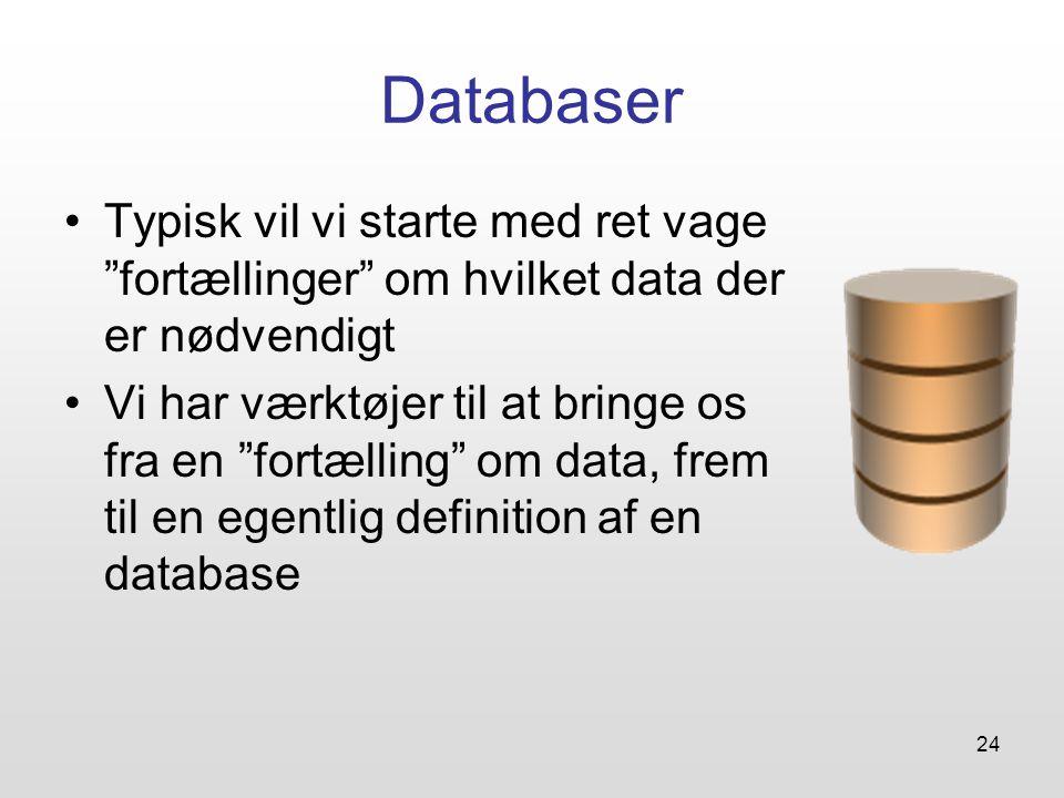 24 Databaser Typisk vil vi starte med ret vage fortællinger om hvilket data der er nødvendigt Vi har værktøjer til at bringe os fra en fortælling om data, frem til en egentlig definition af en database