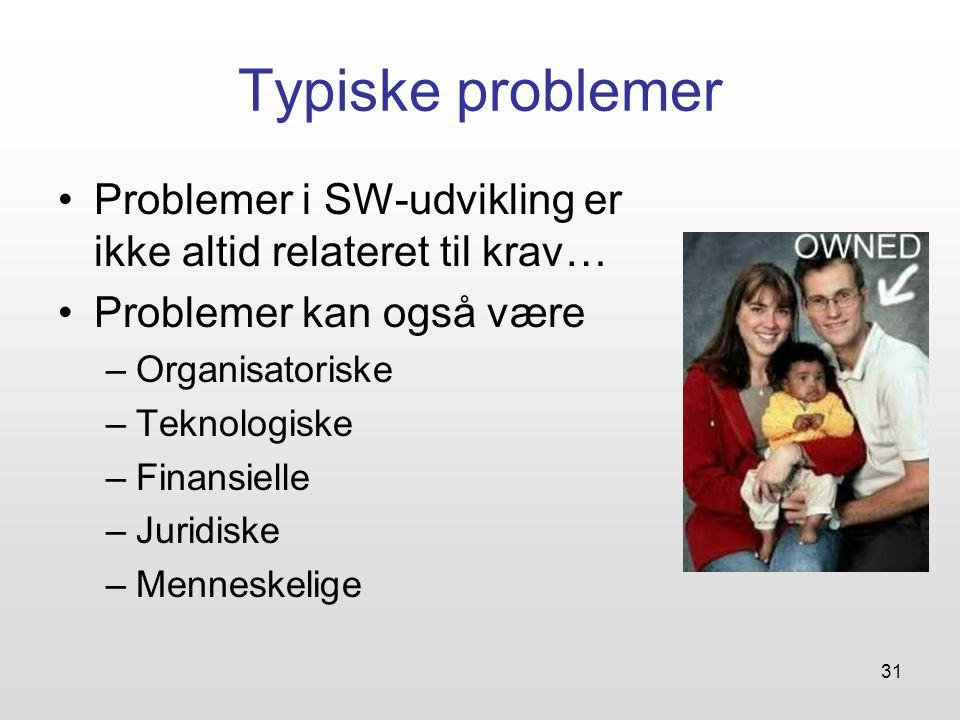 31 Typiske problemer Problemer i SW-udvikling er ikke altid relateret til krav… Problemer kan også være –Organisatoriske –Teknologiske –Finansielle –Juridiske –Menneskelige