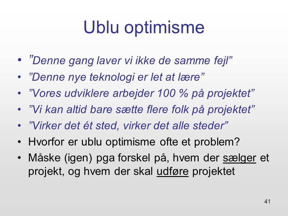 41 Ublu optimisme Denne gang laver vi ikke de samme fejl Denne nye teknologi er let at lære Vores udviklere arbejder 100 % på projektet Vi kan altid bare sætte flere folk på projektet Virker det ét sted, virker det alle steder Hvorfor er ublu optimisme ofte et problem.