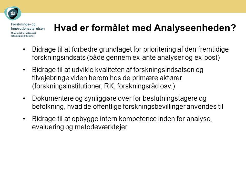 Hvad er formålet med Analyseenheden.