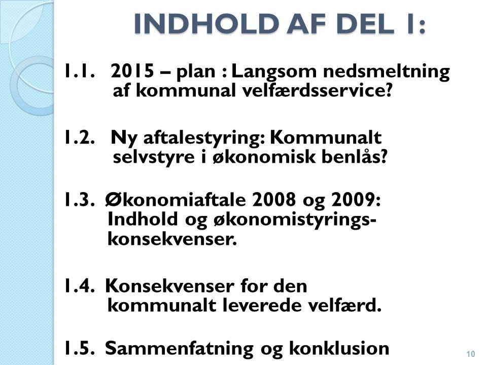 INDHOLD AF DEL 1: 1.1. 2015 – plan : Langsom nedsmeltning af kommunal velfærdsservice.