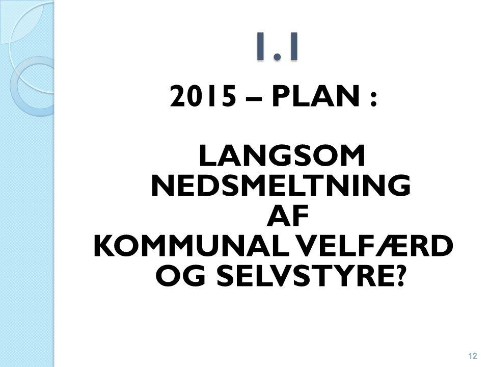 1.1 2015 – PLAN : LANGSOM NEDSMELTNING AF KOMMUNAL VELFÆRD OG SELVSTYRE 12