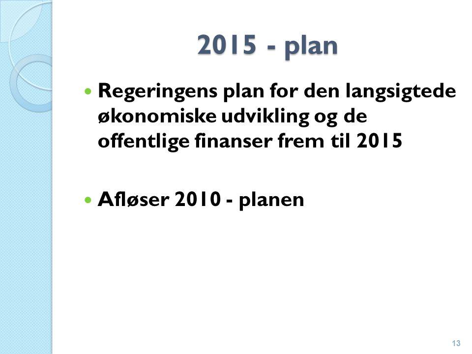 2015 - plan Regeringens plan for den langsigtede økonomiske udvikling og de offentlige finanser frem til 2015 Afløser 2010 - planen 13
