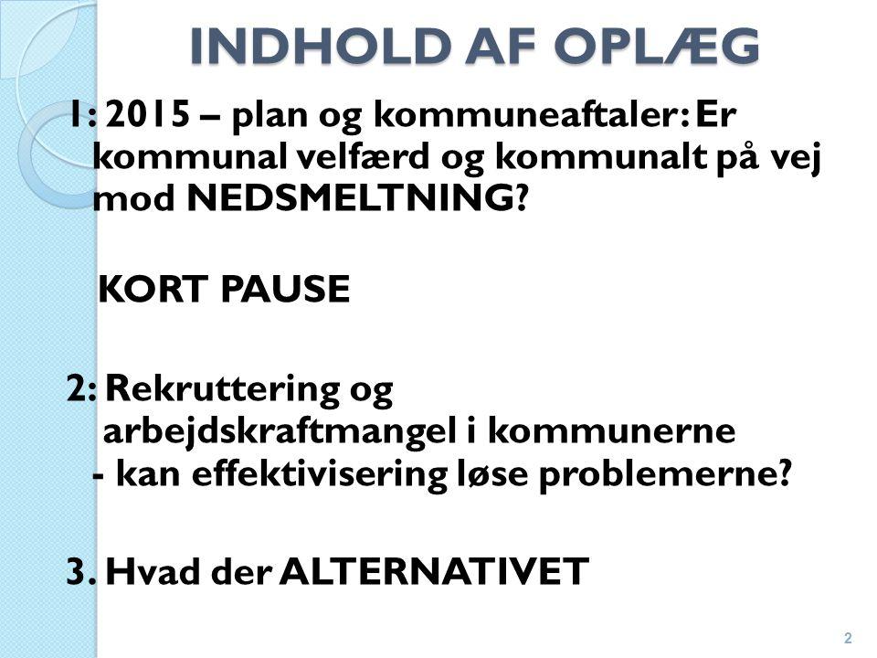 INDHOLD AF OPLÆG 1: 2015 – plan og kommuneaftaler: Er kommunal velfærd og kommunalt på vej mod NEDSMELTNING.